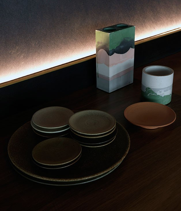 """**** """"As with the earth walls,"""" says Winteridge, """"the crockery was based on locally sourced materials and was developed to frame dishes made from local ingredients."""""""
