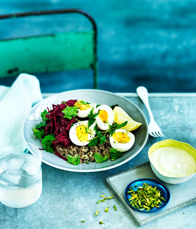 Quinoa pilaf with beetroot, egg and tahini yoghurt