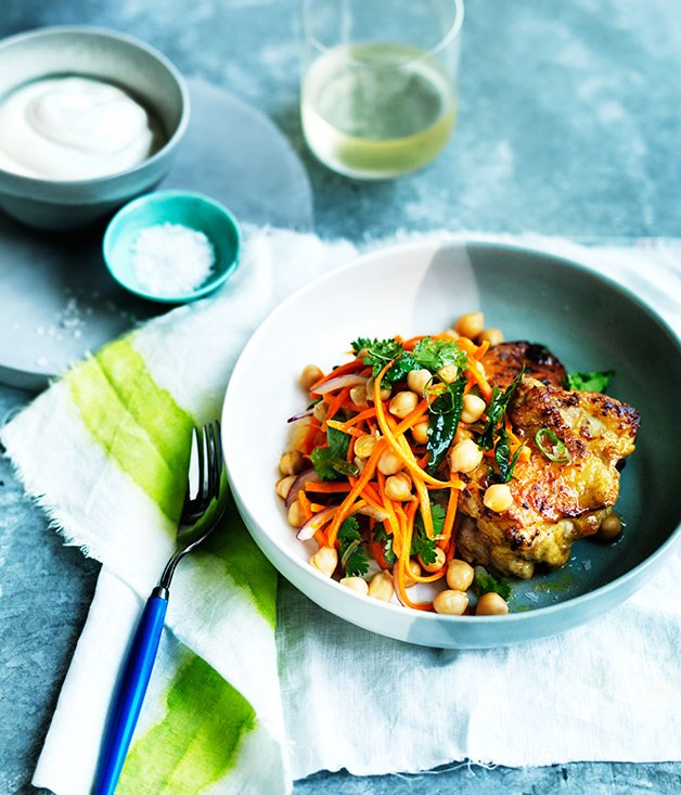 """**[Spiced chicken with carrot, chickpea and green chilli salad](http://www.gourmettraveller.com.au/recipes/fast-recipes/spiced-chicken-with-carrot-chickpea-and-green-chilli-salad-13687