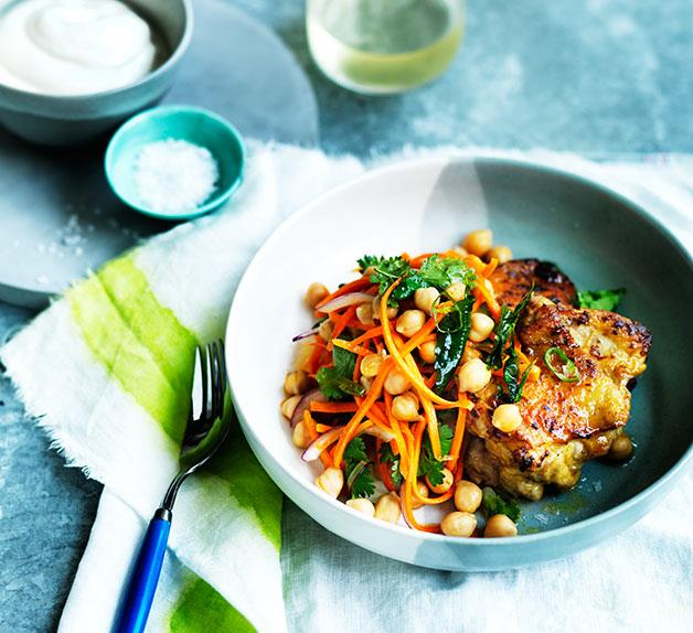 Spiced chicken with carrot, chickpea and green chilli salad