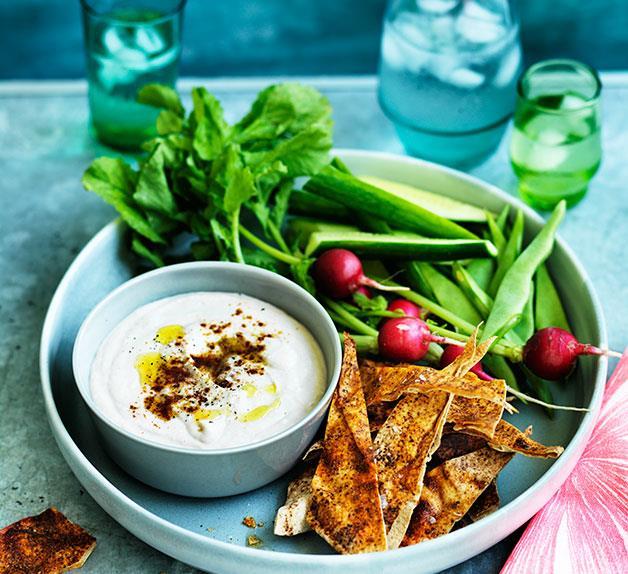 White-bean dip with pita crisps