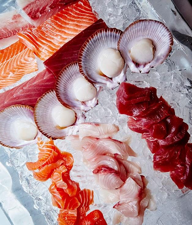 **** The sashimi stationwas stocked with Tasmanian salmon, scallops, yellowfin tuna, Hiramasa kingfish and abalone from the New South Wales coast.