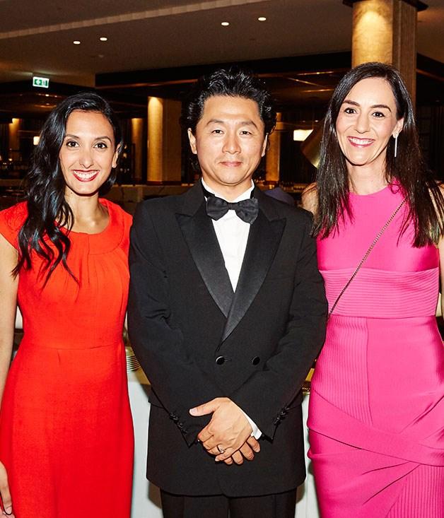 **** Opera Australia performer Simon Kim with Mirvac's Nathalie Pasterfield and Natasha Ryko.