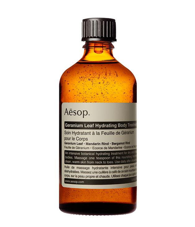 """**Geranium Leaf Hydrating Body Treatment** This intensely [hydrating massage oil](http://www.aesop.com/au/geranium-leaf-hydrating-body-treatment.html """"Aesop""""), enriched with geranium leaf, bergamot and mandarin essential oils, is a gift both you and your Valentine can enjoy. Plus it's Aesop. Need we say more? _100ml, $35_"""