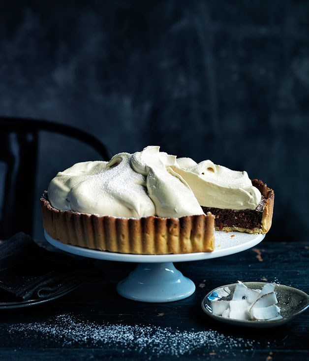 **CHOCOLATE COCONUT MERINGUE PIE** [For full recipe click here. ](http://www.gourmettraveller.com.au/recipes/recipe-search/feature-recipe/2013/7/chocolate-coconut-meringue-pie/)