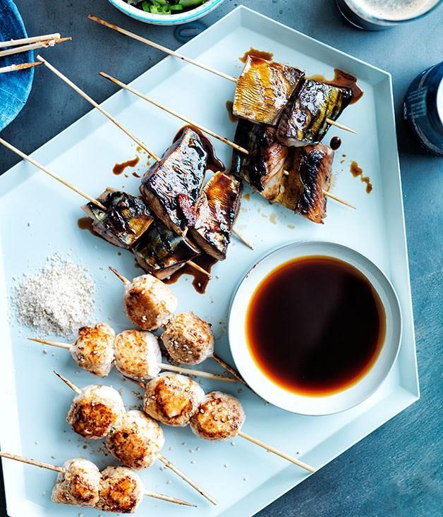 **CHICKEN TSUKUNE** [For full recipe click here.](http://www.gourmettraveller.com.au/recipes/recipe-search/feature-recipe/2013/8/chicken-tsukune/)