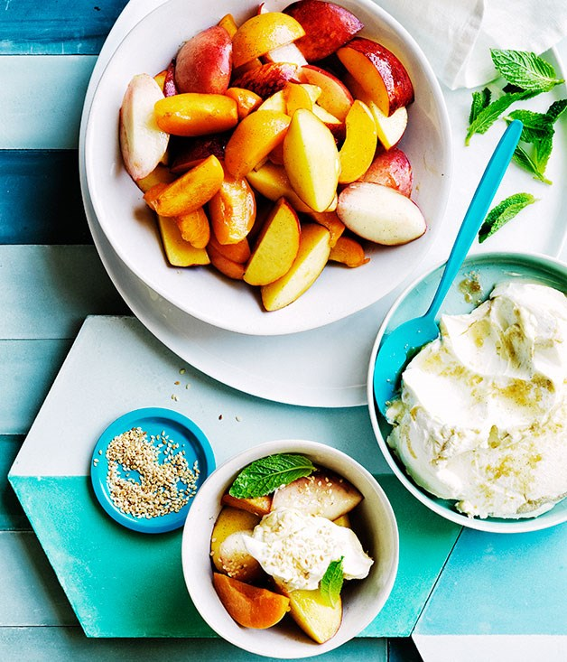 Stone-fruit salad with tahini labne and mint