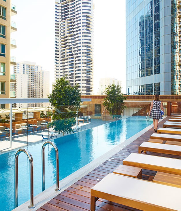 "**Primus Hotel, Sydney** A treat for guests only is the chic rooftop terrace, once a war-time rifle range, with a long marble bar, 20-metre pool, water features and cabanas. _[primushotelsydney.com](http://www.primushotelsydney.com/ ""Primus Hotel"")_"