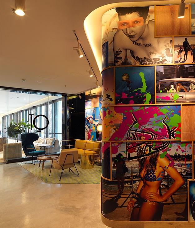 "**QT Bondi** A wave of blond wood curls from the lobby to the lifts and bears a Bondi-inspired work by artist Shaun Gladwell, and his video art appears on pillar screens. _[qtbondi.com.au](https://www.qtbondi.com.au/ ""QT Bondi"")_"