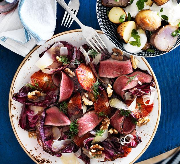Grilled beef heart with radicchio and orange