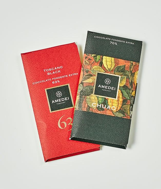 """**Amedei** Toscano Black 63%, $9.50 for 50gm   Dark Cioccolato Fondente Extra 70% Chuao, $19.50 for 50gm   _[lario.com.au](http://www.lario.com.au """"Lario International"""")_"""