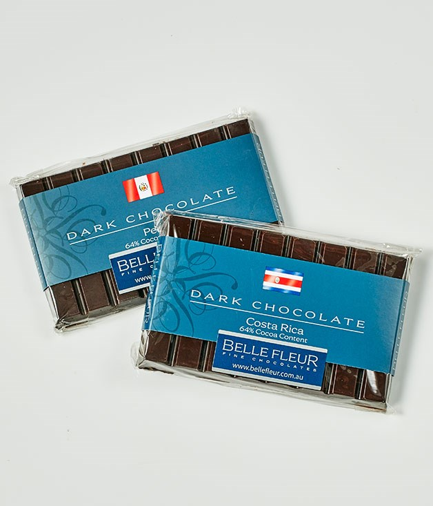 """**Belle Fleur** Single Origin Peru 64% Cocoa, $8.25 for 90gm   Single Origin Costa Rica 64% Cocoa, $8.25 for 90gm   _[bellefleur.com.au](http://www.bellefleur.com.au """"Belle Fleur Chocolate"""")_"""
