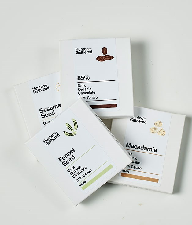"**Hunted + Gathered** 70% Dark Organic Chocolate with Fennel Seed, Sesame Seed, or Macadamia and 85% Dark Chocolate, $7.50 for 45gm   _[huntedandgathered.com.au](http://huntedandgathered.com.au/ ""Hunted + Gathered"")_"