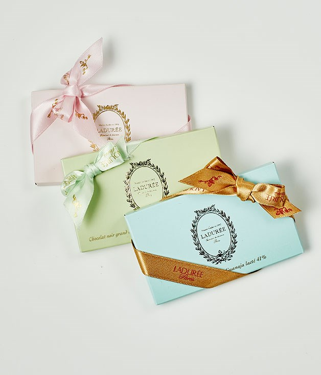 "**Ladurée** La Mini Tablettes in White Chocolate, 41% Milk and 64% Dark, $9 for 42gm   _[laduree.com.au](/laduree.com.au ""Laduree"")_"