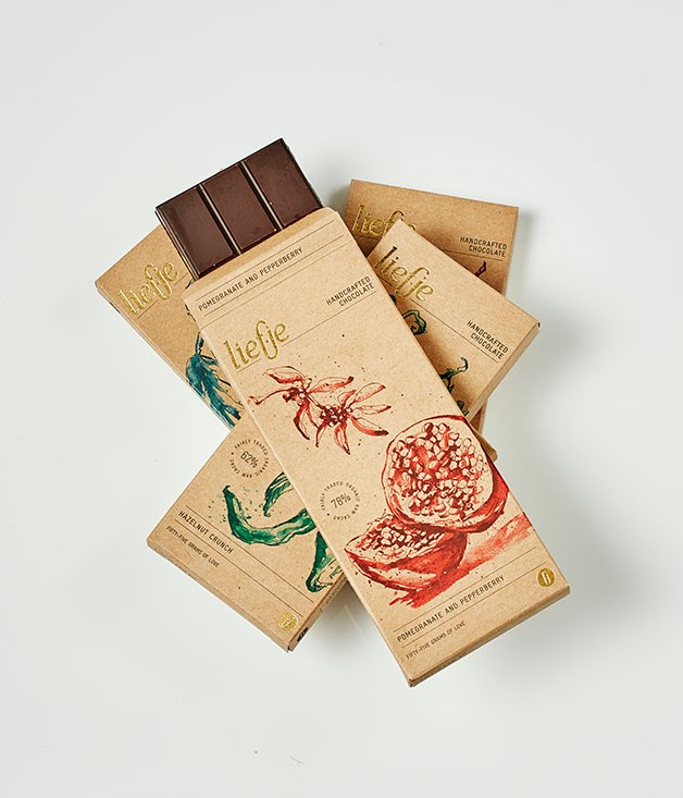 """**Liefje** 80% Pomegranate and Pepperberry,Hazelnut Crunch, Cacao Smoked Saltand Spice Trial, $8.95 for 55gm   _[liefje.com.au](http://www.liefje.com.au/ """"Liefje"""")_"""