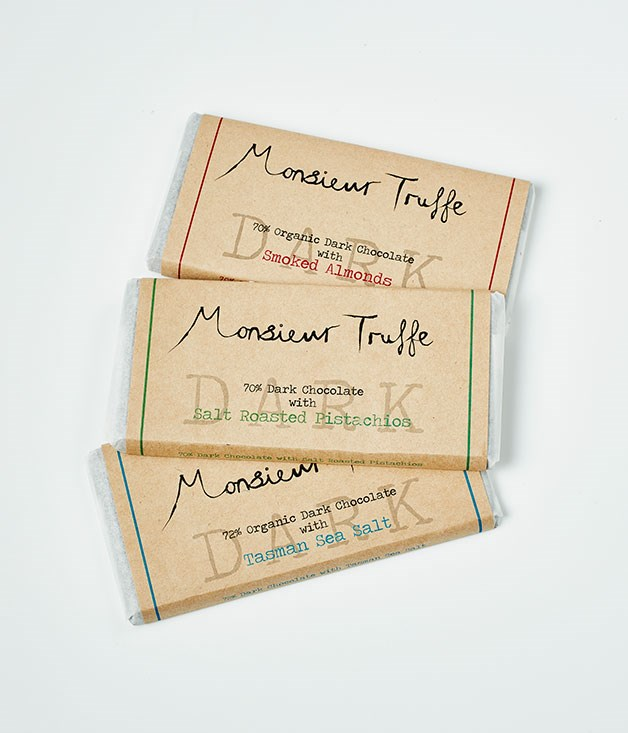 "**Monsieur Truffe** 70% Organic Dark Chocolate with Smoked Almonds, $11.95 for 80gm   70% Organic Dark Chocolate with Salt Roasted Pistachios, $11.95 for 80gm   72% Organic Dark Chocolate with Tasman Sea Salt, $11.95 for 80gm   _[monsieurtruffechocolate.com](http://monsieurtruffechocolate.com/ ""Monsieur Truffe"")_"