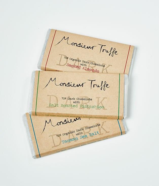 "**Monsieur Truffe** 70% Organic Dark Chocolate with Smoked Almonds, $11.95 for 80gm   70% Organic Dark Chocolate withSalt Roasted Pistachios, $11.95 for 80gm   72% Organic Dark Chocolate with Tasman Sea Salt, $11.95 for 80gm   _[monsieurtruffechocolate.com](http://monsieurtruffechocolate.com/ ""Monsieur Truffe"")_"