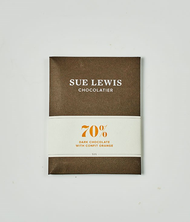 "**Sue Lewis Chocolatier** Dark Chocolate with Confit Orange, $8 for 50gm   _[suelewischocolatier.com.au](http://suelewischocolatier.com.au/ ""Sue Lewis"")_"