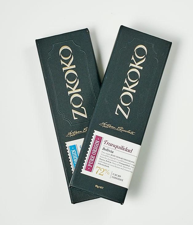 """**Zokoko** Pure Origin 72% Cacao Bolivia Tranquilidad, $15.95 for 85gm   Pure Origin 45% Cacao Solomon Islands Chale Milk, $13.95 for 85gm   _[zokoko.com](http://www.zokoko.com/ """"Zokoko"""")_"""