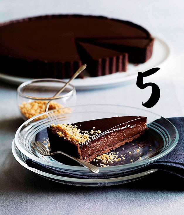 **Triple chocolate praline tart** Chocolate and praline sit pretty together in this decadent dessert.