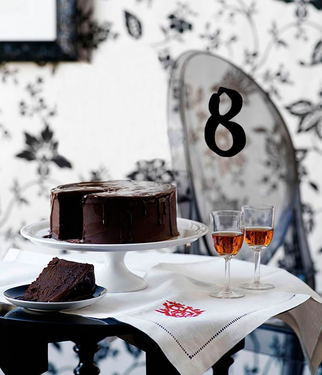 **Rich chocolate cake** This rich chocolate cake is for the serious chocolate lover; dense and fudgy and with a slug of Italian liqueur.