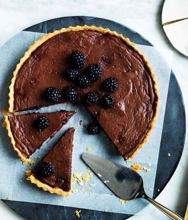 "**[Chocolate and blackberry tart](https://www.gourmettraveller.com.au/recipes/browse-all/chocolate-and-blackberry-tart-12454|target=""_blank"")**"