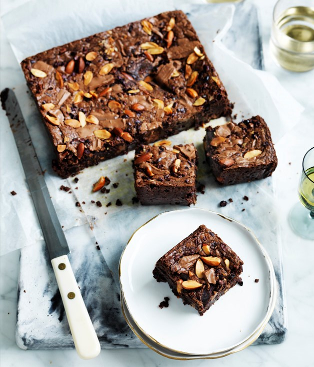 Choc-malt and almond brownie