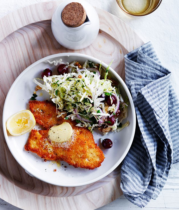 """**[Chicken schnitzels with cabbage and grape salad](http://www.gourmettraveller.com.au/recipes/fast-recipes/chicken-schnitzels-with-cabbage-and-grape-salad-13692