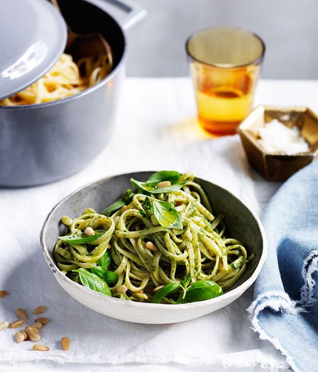 "[**Linguine with pesto**](https://www.gourmettraveller.com.au/recipes/fast-recipes/linguine-with-pesto-13699 target=""_blank"")"