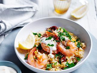 Spanish saffron rice with chorizo and prawns