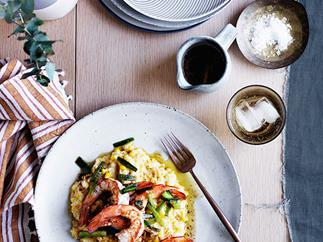 Corn and grits with brown butter and prawns