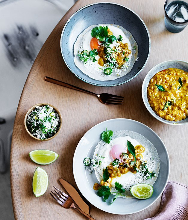 "[Egg hoppers with green sambol and coconut gravy](http://www.gourmettraveller.com.au/recipes/browse-all/egg-hoppers-with-green-sambol-and-coconut-gravy-12468|target=""_blank"")"