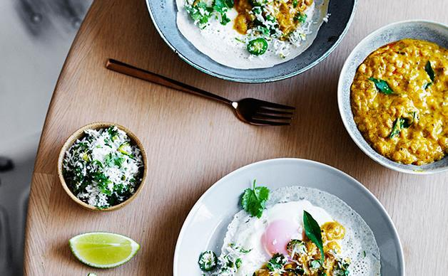 Egg hoppers with green sambol and coconut gravy