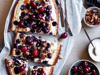 Cherry, almond and yoghurt tart
