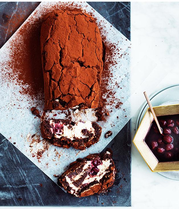 """**[Black Forest chocolate roulade](https://www.gourmettraveller.com.au/recipes/browse-all/black-forest-chocolate-roulade-12470