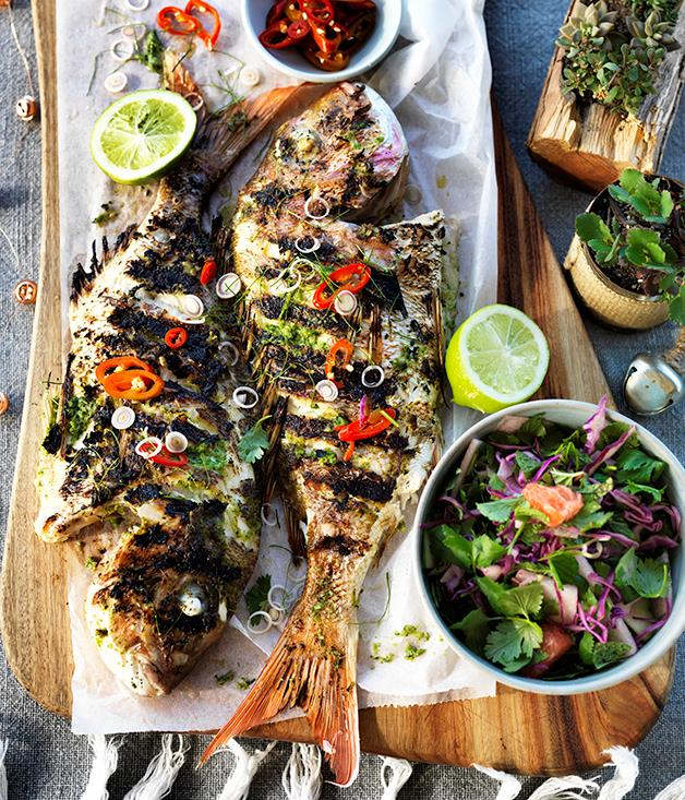"**[Three Blue Ducks' barbecued whole fish with lemongrass and lime leaves](https://www.gourmettraveller.com.au/recipes/chefs-recipes/barbecued-whole-fish-with-lemongrass-and-lime-leaves-8401|target=""_blank"")**"