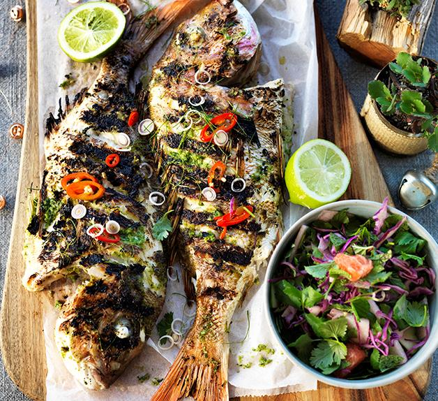 Barbecued whole fish with lemongrass and lime leaves
