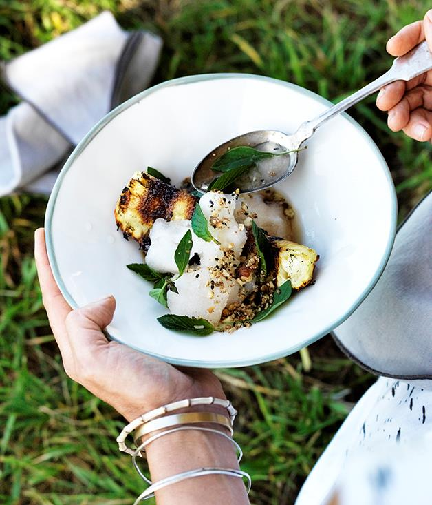 "[Three Blue Ducks' charred pineapple with lemon and ginger granita, cashew praline and Thai basil](https://www.gourmettraveller.com.au/recipes/chefs-recipes/charred-pineapple-with-lemon-and-ginger-granita-cashew-praline-and-thai-basil-8404|target=""_blank"")"