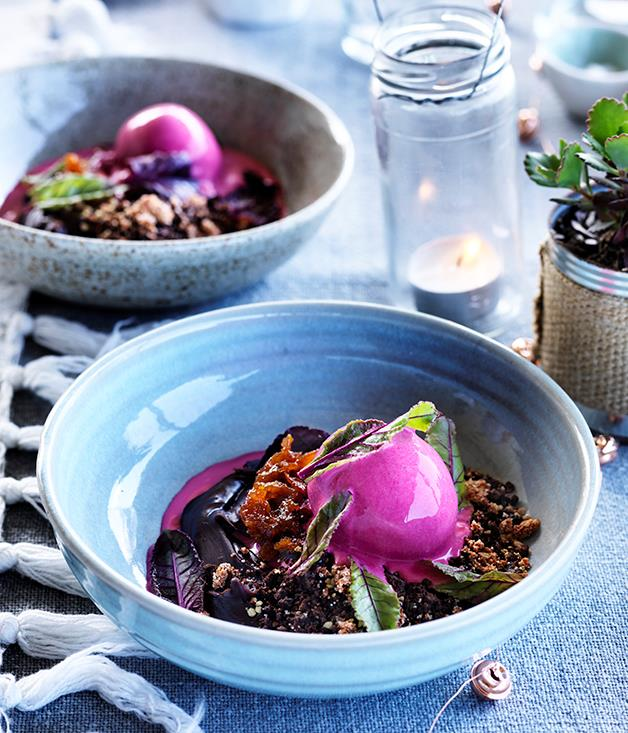 "**[Three Blue Ducks' beetroot and chocolate with burnt orange](https://www.gourmettraveller.com.au/recipes/chefs-recipes/beetroot-and-chocolate-with-burnt-orange-8411|target=""_blank"")**"