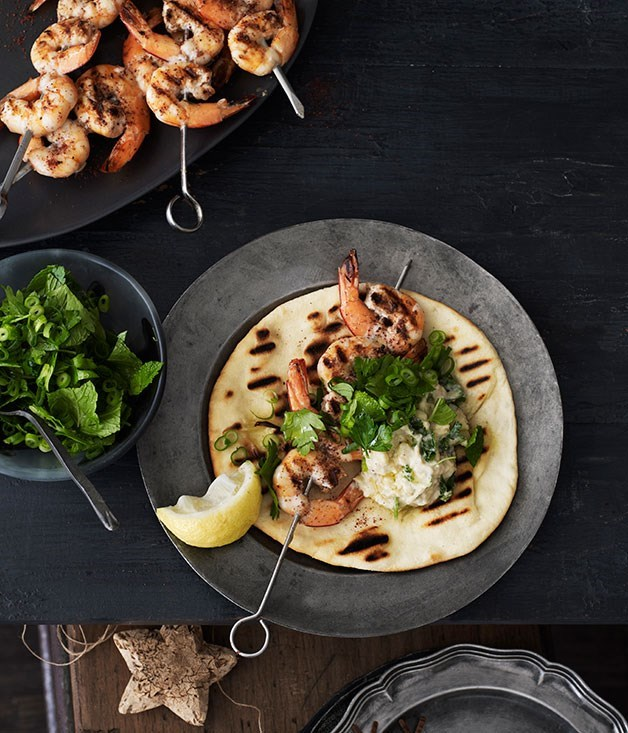 **Barbecued sumac prawns with yoghurt flatbread**