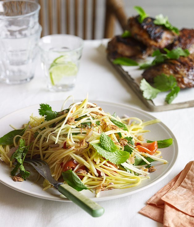 **BARBECUED LEMONGRASS CHICKEN WITH GREEN MANGO SALAD**