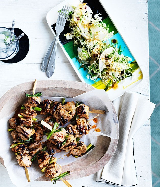 **Sticky pork skewers with nashi slaw**