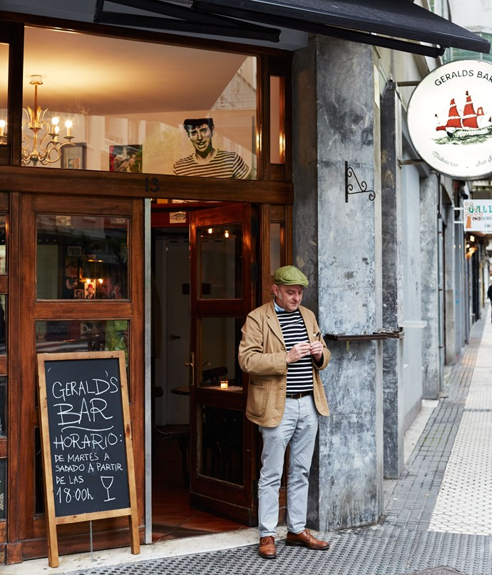 "**Gerald Diffey at his bar in San Sebastián** Gerald's, our bar in Melbourne, is all about discovering new, interesting wines, and eating at any level that you feel comfortable with, whether that's just a snack or a feast. At heart it's a wine bar with food and great music. You'll hear a lot of ska, soul, funk and R&B records: Jackie Mittoo, Marlena Shaw, Gil Scott-Heron, a lot of straight-ahead jazz - Miles Davis and John Coltrane - as well as a bit of Siouxsie and the Banshees thrown in. In other words, all the things I like. An eclectic mix of passionate music. And that's what we've brought to San Sebastián, only with more food, and in the summer season we also open through the day. We're one of the only bars in San Sebastián that makes its coffee with real milk rather than UHT, too, so we've become a bit of a hub for travellers in that regard.  We're in Gros, which has very much a locals' vibe, but it's also an area where visitors like to call in regularly to get the lay of the land.We didn't want to copy what San Sebastián already does, so we don't do pintxos, the local take on tapas - they do plenty of that and they do it well - we just wanted to use the fantastic local produce and put our own spin on it. I don't know how to describe our cuisine except to say we go to the market, we look at nice things and we make them into food. We're playing with some classics, like our steak tartare, and Nick Hughes, our chef, does things like make beautiful fresh rag pasta and tosses it with porcini from up in the hills here, some fried and left in pieces, others turned into a light purée. He also does a lovely prawn rillettes, which we serve with toast, and when we can get them he does the same thing with fresh anchovies. It doesn't get much better than fresh Basque anchovies and wine.     _Iparragirre 13, Gros, +34 94 308 3001, [geraldsbar.eu](/<a href=""http:/geraldsbar.eu/"" rel=""nofollow""> geraldsbar.eu</a>)_"