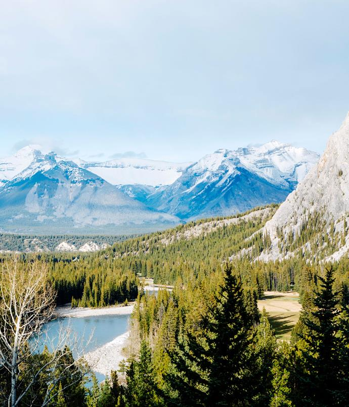 **Mount Rundle, Cascade Mountain and Castle Mountain seen from the Fairmont Banff Springs hotel.**