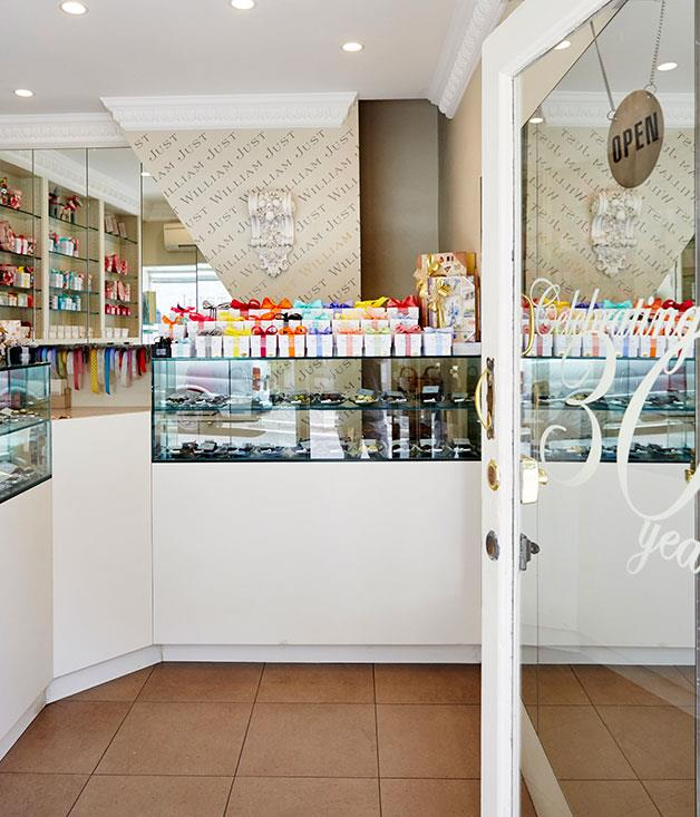 **Just William Chocolates, Paddington** The charming interiors of hole-in-the-wall, Just William Chocolates.  _[http://justwilliam.com.au/](http://justwilliam.com.au/)_