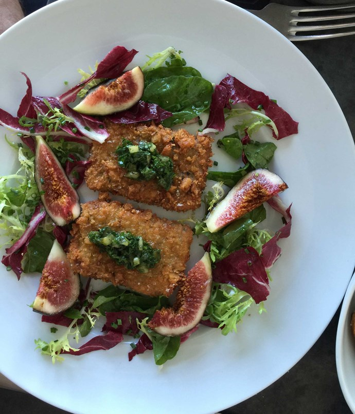 **Pork schnitzel with salsa verde and figs at Sean's Panaroma** Chef [Sean Moran](http://www.gourmettraveller.com.au/restaurants/restaurant-guide/restaurant-reviews/s/seans/seans-panaroma/) sources his free-range pigs for his Bondi restaurant from Melanda Park near Ebenezer in NSW. Cheeks and hocks find themselves with a schnitzel crumb here, paired with green sauce and the season's sweetest figs.