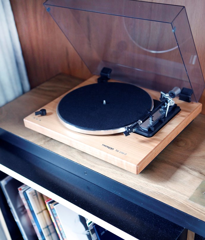 **Tunes** Rooms feature an eclectic record collection ready for Thorens turntables hooked up to ceiling speakers.