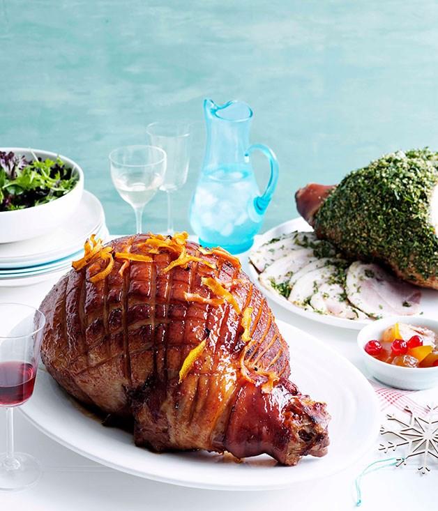 "**[Glazed ham](https://www.gourmettraveller.com.au/recipes/browse-all/glazed-ham-11819|target=""_blank"")**"