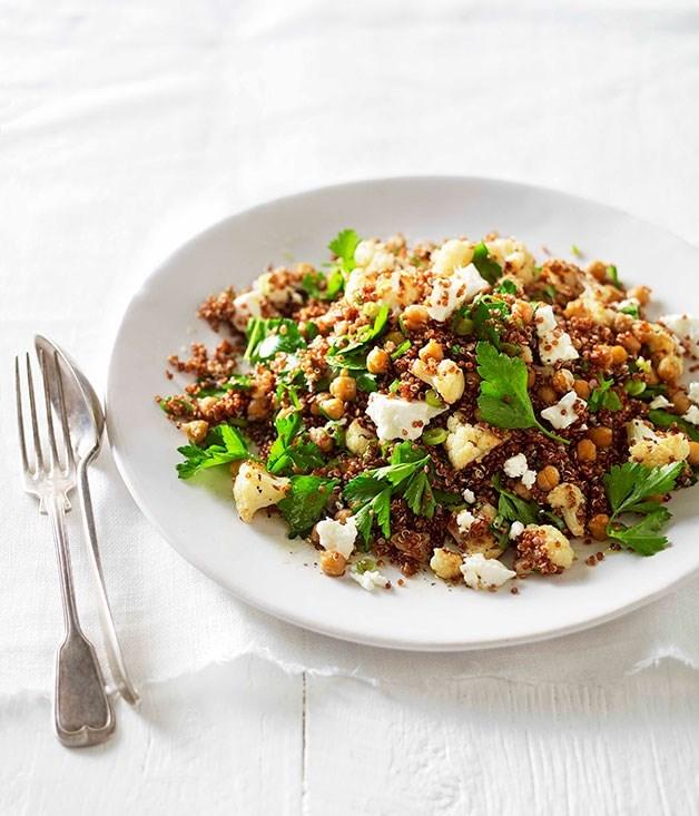 "**[Warm roast cauliflower, chickpea and quinoa salad](https://www.gourmettraveller.com.au/recipes/fast-recipes/warm-roast-cauliflower-chickpea-and-quinoa-salad-13204|target=""_blank"")**"