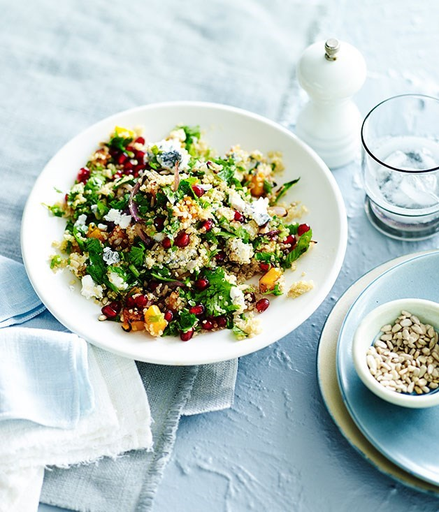 "**[Quinoa salad with pomegranate, pumpkin and ashed goat's cheese](https://www.gourmettraveller.com.au/recipes/fast-recipes/quinoa-salad-with-pomegranate-pumpkin-and-ashed-goats-cheese-13471|target=""_blank"")**"